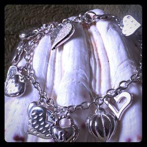 Jewelry - Sterling Silver Multiple Hearts Charm Bracelet